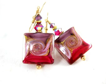 Square Murano Glass Dangle Earrings, Purple Pink Gold Earrings, Wave Earrings, Beach Earrings, Murano Jewelry, Nautical Jewelry, Summer