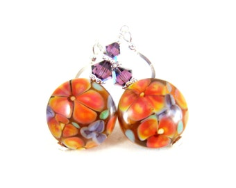 Coral Pink Purple Floral Earrings, Botanical Earrings, Flower Earrings, Nature Jewelry, Flower Jewelry, Lampwork Earrings, Glass Earrings