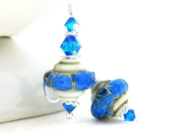 Caribbean Blue White Earrings, Rustic Dangle Earrings, Blue Ivory Glass Earrings, Summer Drop Earrings, Lampwork Earrings, Boho Earrings