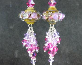 Pink Violet Crystal Dangle Earrings, Unusual Earrings, Pastel Glass Earrings, Lampwork Earrings Sparkling Earrings Unique Earrings Spaceship