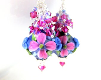 Purple Pink Floral Dangle Earrings, Crystal Earrings, Cottage Chic Earrings, Lampwork Earrings Flower Jewelry Glass Earrings Bridal Earrings