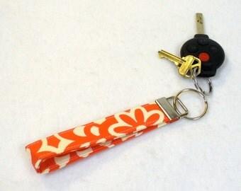 Wristlet Key Fob Amy Butler Fabric Key Fob Keyring Wall Flower Cherry Red Floral Fabric Key Chain Handmade MTO