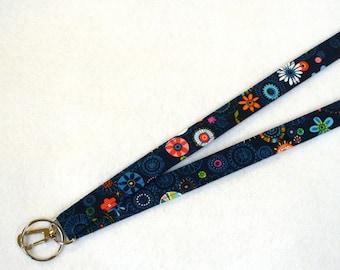 Carolyn Gavin Fabric Breakaway Clip Lanyard ID Badge Holder Break Away Lanyard Key Ring Fob Soul Garden Dark Blue Navy Suzani Floral