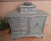 Vintage Upcycled Robin's Egg Blue Jewelry Chest ~ Jewelry Box With Hidden Ring Compartment