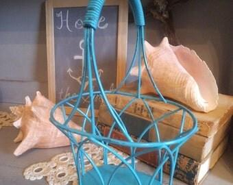 Aqua Wire Shabby chic Cottage Basket ~~ Turquoise Blue