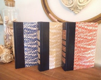 Beautiful Vintage Readers Digest BOOK STACK with flame stitch ~  Chevron ~ Blue Red Yellow
