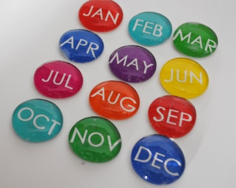 12 months of the year, abbreviated, magnets or push pins -YOU choose your own COLOR, 2017 perpetual calendar, back to school
