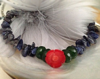 Coral Flower Bracelet Natural gemstones Blue,red,green emerald red coral chunky stacking layering feminine acessories for her summer jewelry