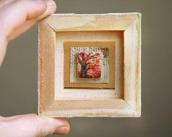 Acrylic Painting Original Miniature Tree Nature Art on Wood Tile  - Cherry Blossoms No.2