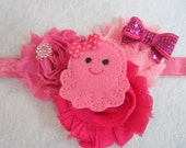 Headband Pink Octopus Shabby Chic Frayed Chiffon Beautiful Hairbow Flower Bow Photo Party Newborn Ocean Water Sea Glitter