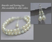 Wedding Jewelry Set, Swarovski Ivory Pearl Double-Strand Bracelet and Earring Set, Bridal Jewelry Set, Bridesmaid Bracelet and Earring Set