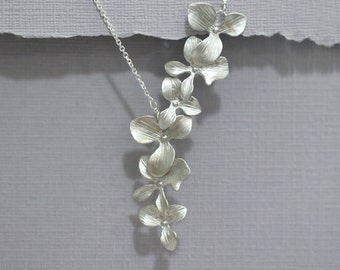 Orchid Necklace, Cascade Orchid Necklace, Bridal Necklace, Bridesmaid Necklace, Personalize Bridesmaid Gift, Will You Be My Bridesmaid
