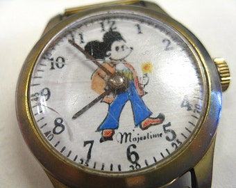 Mickey Mouse in Bell Bottoms As Is Watch NOT WORKING by Majestime Swiss Bezel Stainless Steel Broken Band Damage to Plastic Face Cover