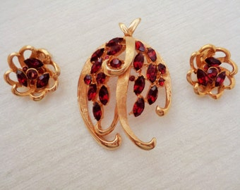 Vintage BSK Ruby Red Rhinestone Brooch and Earring Set