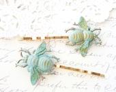 Verdigris Bumble Bee Hair Pins - Gold Bumble Bee Bobby Pins - Bumblebee - Woodland - Nature Wedding Hair