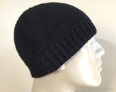 Loro Piana Cashmere Black Knit Hat Beanie, 100% Pure Italian Cashmere Custom Sizes Hand Knit for Adult Men Teens Boys // HUDSON //