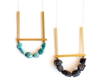 Cluster Necklace in Black Tourmaline or Turquoise