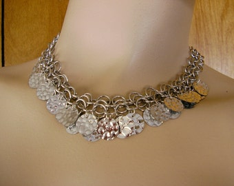 "Coin Bib Necklace ~ silver rain drop coins on chainmail with extender chain and a lobster clasp 16"" long"