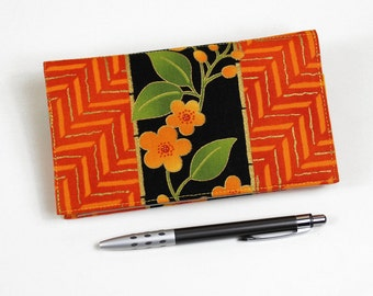 Fabric Checkbook Cover for Duplicate Checks with Pen Holder - Orange Floral Cheque Book Cover