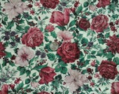 Sale Cranston Holiday Floral Print Burgundy Dusty Rose 1/2 yd  100% Cotton Fabric
