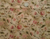 """Lady Zinnia Pattern Beige Pink Green 100% Cotton Fabric Remnant 12"""" X 45"""""""
