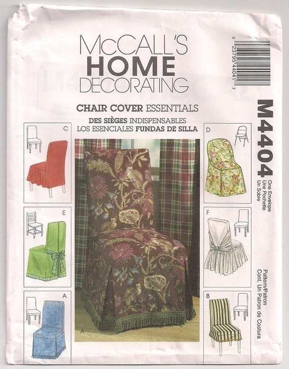 McCalls 4404 Chair covers- Parson- Folding- Ladderback chairs, fringes, pleats, back bow standard size, home decor pattern