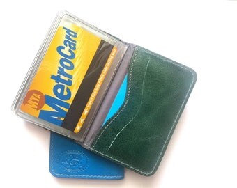 Credit Card Wallet, Credit Card Holder, Metro Card Case, Gift For Him, Gift For Her - in DARK GREEN (No.1414)