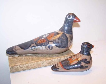 Tonala Doves, Folk Art Birds, Mexican Pottery, SET OF 2, Stoneware Birds, Bird Figurine, Stoneware Pigeon, Vintage