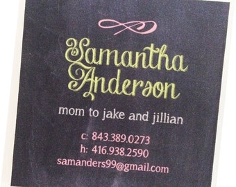 Calling Cards, Business Cards, Mommy Cards - Chalkboard Style - Set of 60 Square Calling Cards - Chalkboard Calling Cards