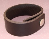 6 Brown Leather Bracelets to Stud or Decorate or Wear as is - 1 Inch Wide Brown Leather Cuffs Adjustable with Snaps Jewelry Supplies