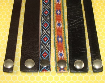 6 Leather Bracelets to Stud or Decorate or Wear as is- Brown & Black Leather Cuffs 3 Widths - Aztec Geometric Ribbon Embellished Bracelets