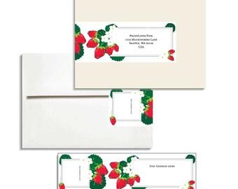 Envelope Wrap Strawberries for A7 envelope Editable PDF