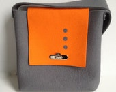 Shoulderbag in Orange and Gray Felt - SALE