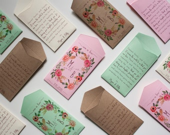 Custom Rustic Wedding Favor Seed Packet Envelopes - Many Colors Available