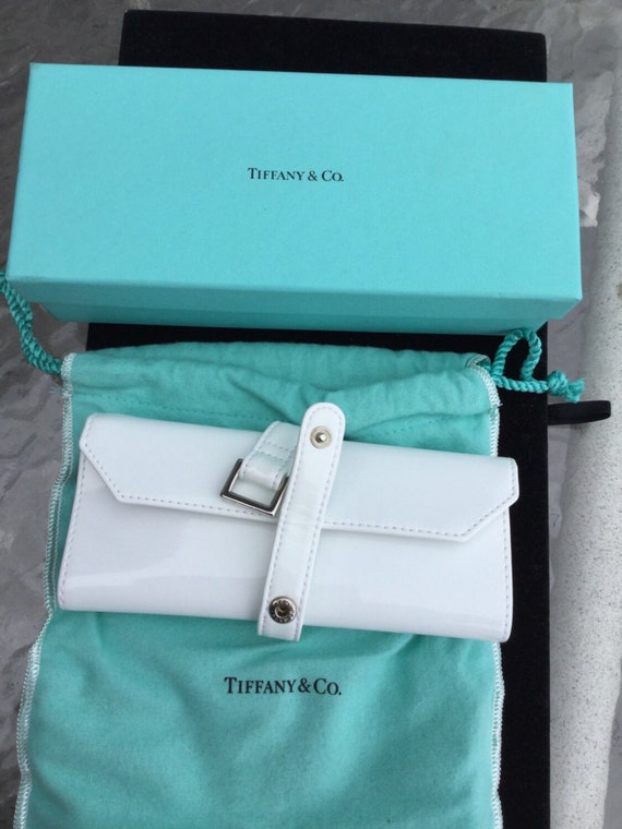 vintage tiffany co white leather jewelry case and box