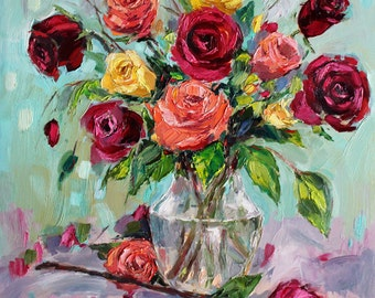 Rose Art, print of oil painting, giclee print of impressionist roses, modern impressionist palette knife rose painting