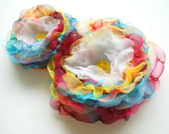 Rainbow Colorful Chiffon Flowers, Weddings Hair Accessory, Bridal Corsage, Colorful Bridal Sash Flowers, Bridesmaids,F lower Girls, Prom