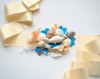 Beach Weddings Bridal Sea Shells Sash, Nautical Hawaiian Weddings Accessories, Bridal Seashell Sash, Something Blue, Mermaid Bridal Sach