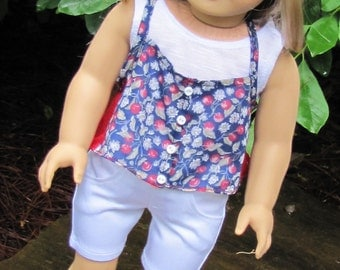 18 Inch Doll Clothes, AG Doll clothes, Trendy AG Doll Clothes, Handmade Cami, Tank Top, Shorts fits American Girl Doll