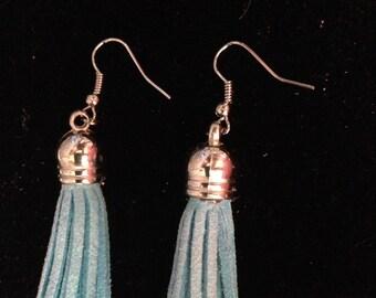 Earrings - Light Blue Tassel