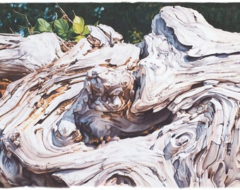 photo-realist art print of driftwood altar