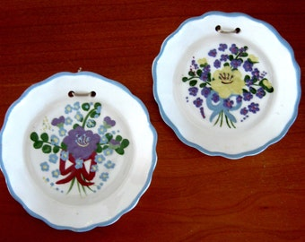 Vintage Cleminson Pottery Plate California Wall Plaque Floral Purple Blue Yellow