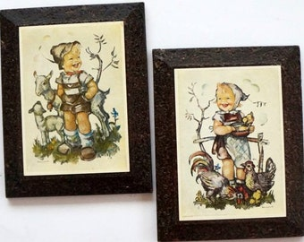 Vintage Hummel Prints Wood Plaques West Germany Girl Chickens Boy Lambs Set of Two 1960s