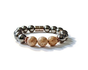 Magnetic Hematite Health Bracelet with Wooden Beads, Pain Relief Jewelry