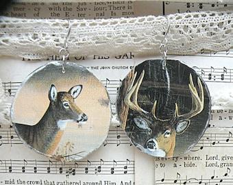 fall deer earrings mismatch assemblage woodland buck doe round