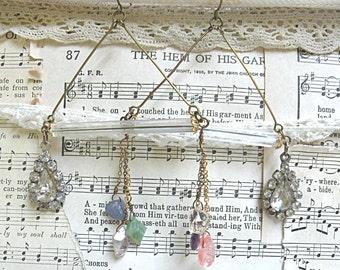 assemblage earrings deco mod wide glass tube gemstone