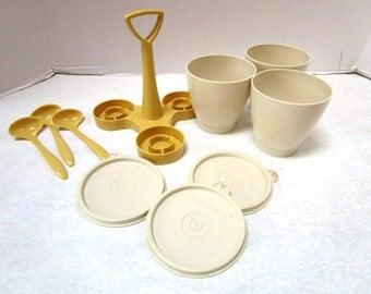 Vintage Tupperware Condiment Caddy Complete 10 Piece Set w/ Spoons Lifetime Guarantee, Retro Summer Picnic, Almond Gold, Plastic Unbreakable
