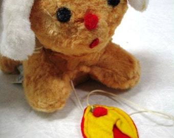 Vintage Musical Puppy Dog Plush w/ Moving Head Eden Toy Please Adopt Stuffed Children's Comfort Lovey Gold, Red Slipper Pull String Winder