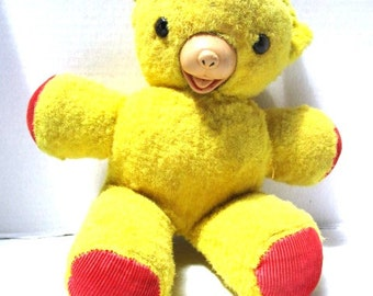 Abandoned Vintage Teddy Bear, Please adopt, Worn with Love, Yellow Fur Rubber Nose, Black Button Eyes, Child's Security Toy Velveteen Rabbit