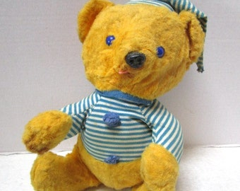 Abandoned Vintage Teddy Bear, Please adopt, Worn with Love Bedtime Buddy Yellow Fur, Blue Button Eyes, Child's Security Toy Velveteen Rabbit